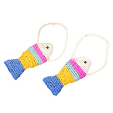 colorful sisal fish cat scratcher with lanyard toys