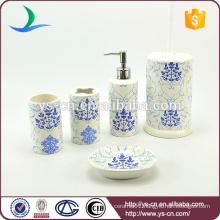 YSb50133-02 Eco-friendly 5 pcs bathroom accessory with bule flower