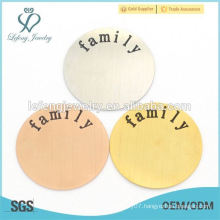 316l Stainless Steel Round Floating charm Locket Plates, plate engraved with family