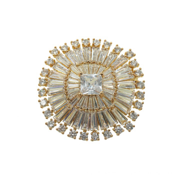 Brilliant Cubic Zirconia Gold Plated Brooch