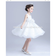 New design A line ruffles sash baby girl wedding dress sleeveless knee length flower girl dress muslim for wedding