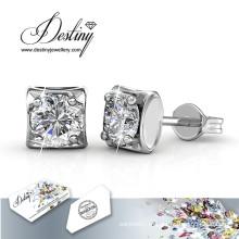 Quadrado de destino joias cristais Swarovski brincos