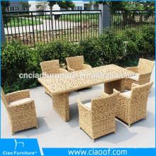 Twisted cane meubles restaurant table et chaises ensemble à manger