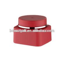 30g 50g plástico vermelho cosméticos quadrados frasco de creme de PP frasco de creme de parede dupla 50g foscas fosco eco PP frascos de creme