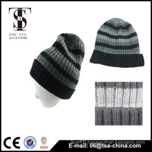 Classcal design acrylic men's Stripe Beanie Hat