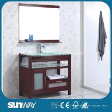 Gabinete de banheiro de madeira maciça ao chão com pia