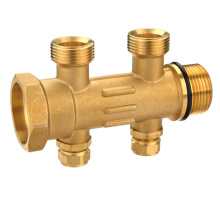 T1189 Hot stamped brass water manifolds 2 way brass fittings