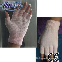 NMSAFETY pvc pontilhada algodão luva de trabalho sem dedos