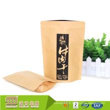 Papier kraft d'impression faite sur commande en gros d'usine de la Chine tient le sac d'emballage de nourriture de secousse de boeuf de catégorie comestible avec la tirette