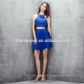 sleeveless short designs bridesmaid dress 2pcs set backless blue color convertible bridesmaid dress with heavy beading