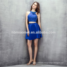 sleeveless short designs bridesmaid dress 2pcs set backless blue color convertible bridesmaid dress with heavy beading
