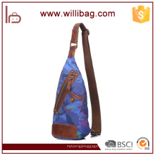 Китай дешевые колледже плеча рюкзак холст слинг грудь сумки для мужчин