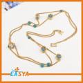 Fine Fancy Long Gold Anchor Pendant Necklace