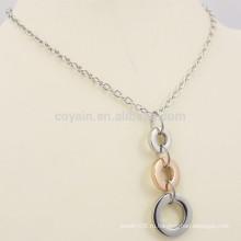 Простой дизайн: два тона металла 3 кольца ожерелье мужчин