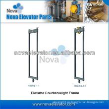 Roping 1: 1 y Roping 2: 1 Marco del contrapeso del elevador, marco del contrapeso de la elevación