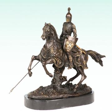 Chevalier Maison Déco Guerrier Sculpture Bronze Statue Tpy-452