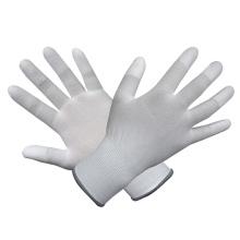 Polyester / Nylon Handschuhe mit weißem PU beschichtet