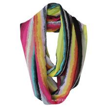 Леди мода полосатый печатных полиэстер шифон бесконечность шарф лето (YKY1114)