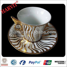Céramique Marocaine Or Encrusted Striped Plating Tea Cups Saucers Chine Wholesale