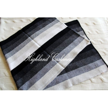 Cashmere Knitted Scarf with Intarsia Vertical Stripes