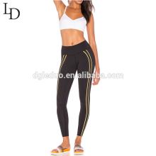 Pantalones al por mayor atractivos de la yoga de la aptitud negra apretada de la cintura alta de la mujer