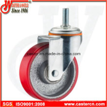 PU giratoria de servicio medio de 5 pulgadas en la rueda de acero con vástago