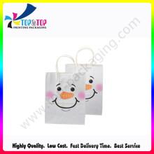Saco da promoção / saco de papel / saco dobrando com cara do sorriso