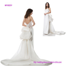 Strapless Wedding Dress with Removable Bow Train