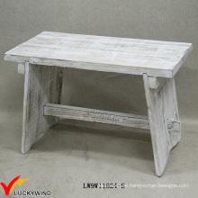 Apagado pequeño taburetes de madera de madera sólida Vintage Blanco
