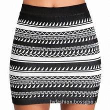 Women's knitted, tribal print skirt