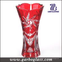 Vase en verre sculpté fleur rouge de couleur rouge (GB1508TY / P)