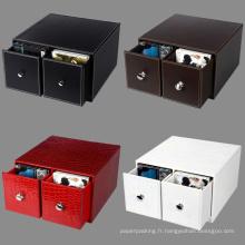 Boîtes de rangement en cuir de qualité en cuir avec 2 tiroirs à emporter