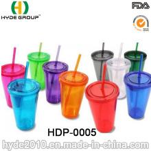 Gobelet en plastique à double paroi de haute quatité en gros avec de la paille (HDP-0005)