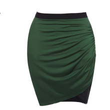Grace Karin Stock Occident Womens High Stretch Splicing Pleated Hips-Wrapped Dark Green Short Pencil Skirt CL008929-1