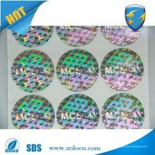 Étiquette holographique avec effet arc-en-ciel / étiquette d'hologramme imperméable à l'eau / autocollant holographique 3D bon marché