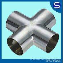 Raccord de tuyau d'acier inoxydable de TP316L / croix sanitaire