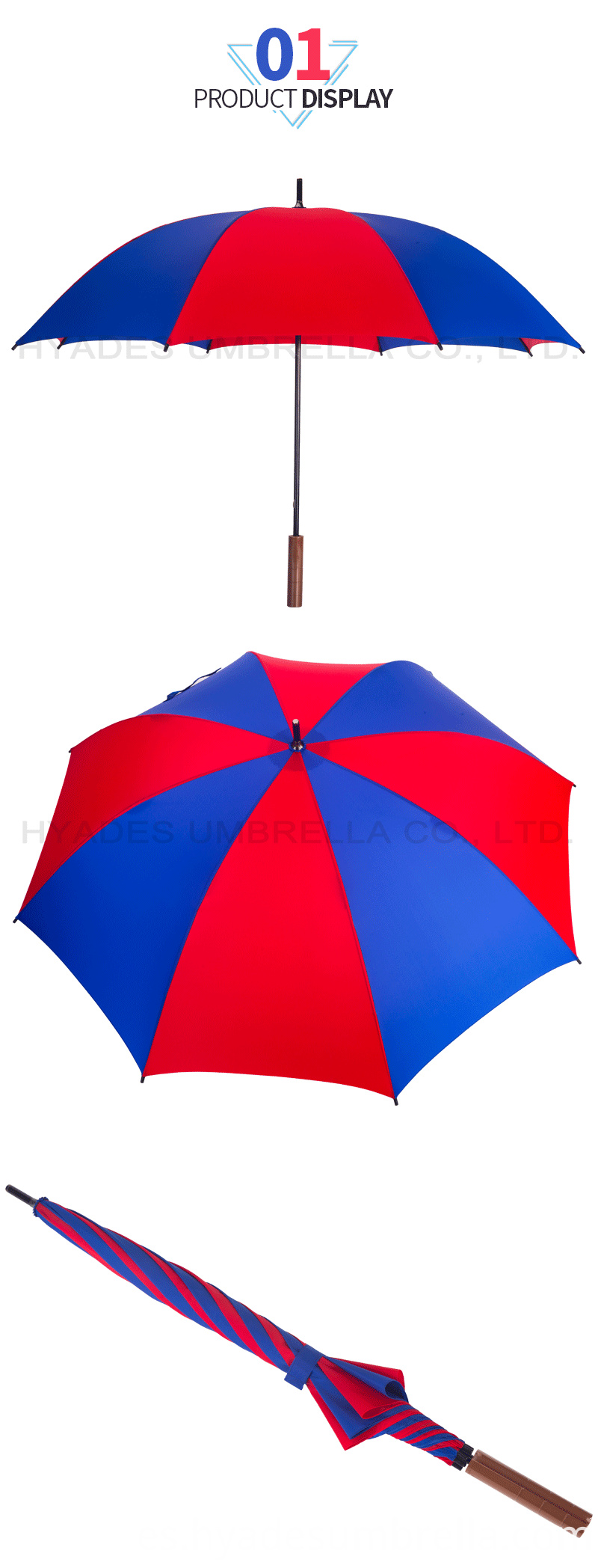 Custom Red And Navy Manual Open Straight Umbrella