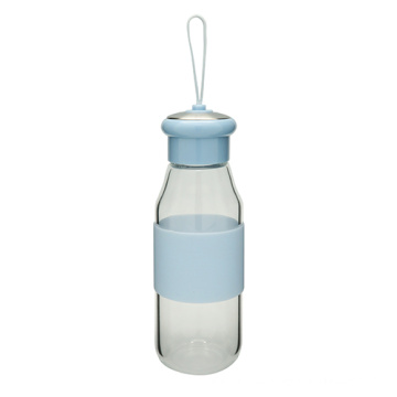 Botella de té de cristal pared simple con Loop 360ml