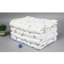 100% Cotton Muslin Gauze Cloth Printed Baby Towelblanket with 90X90cm