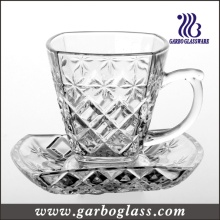 Glass Tea Cup & Saucer Set with Embossed Design (TZ-GB09D1305ZJ)