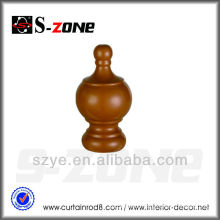 WF05 Nice wooden cover stage curtain rod decoration finials