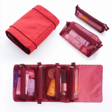 4-in-1 Roll Up Cosmetic Bag Foldable Travel Cosmetic Organizer Detachable Hanging Toiletry Bag With Custom Logo