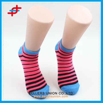 Spring colored stripe pattern ankle socks for cute girls,cheap for wholesale