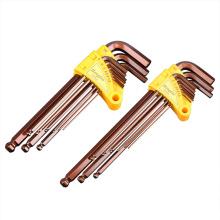 Lengthened Allen Wrench High-End 9-Piece Combination Inner Hexagonal Spanner Set Flat Head Ball Head Hardware Tool