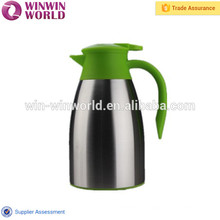 Vente chaude incassable poignée colorée double paroi en acier inoxydable café pot