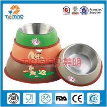 12-18cm multi taille rond en acier inoxydable imprimé chien bol, porte-aliments pour animaux de compagnie