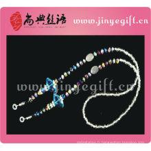 Accessoire de mode Bling Sparkly Crystal perle Lunettes Cordon
