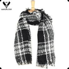 Женская мода необработанные края проверено шарф с люрексом
