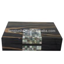 Boîte à bijoux en bois MOP noir et de luxe pour bijoux
