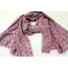 custom design grid and Yarn dotted decoration scarf fringe on four side super soft hand feeling